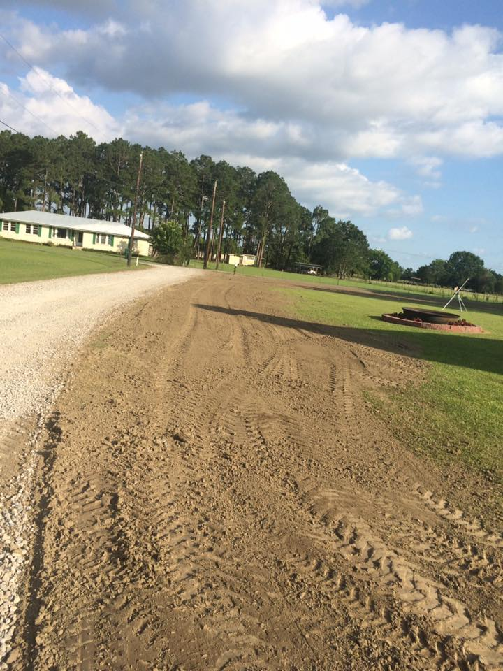 dirt work along driveway