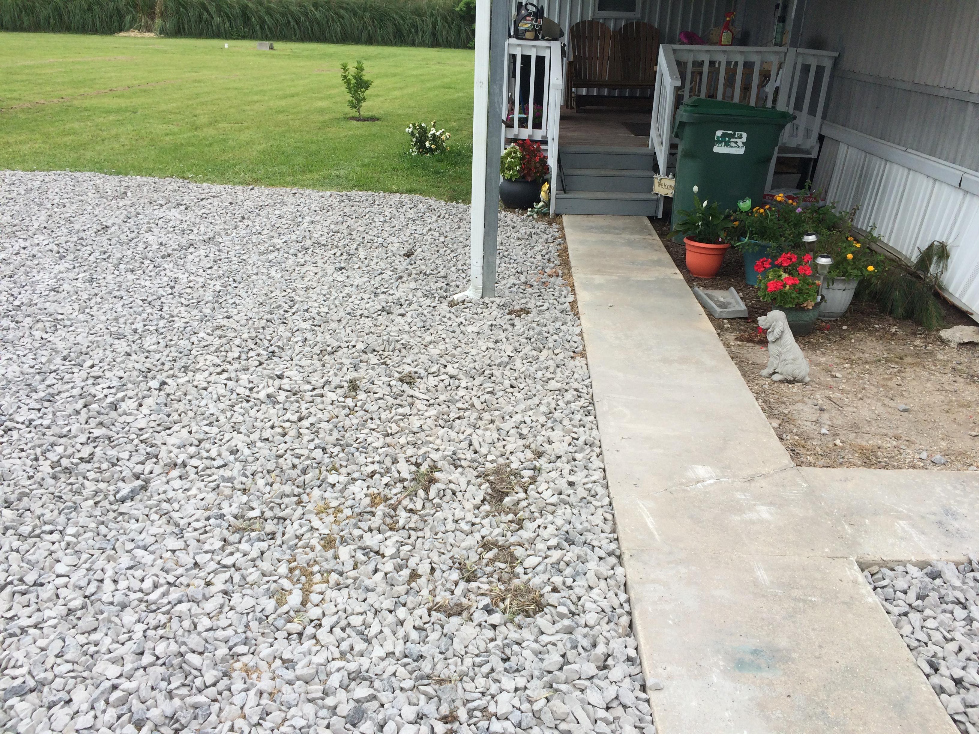 rock work around sidewalk